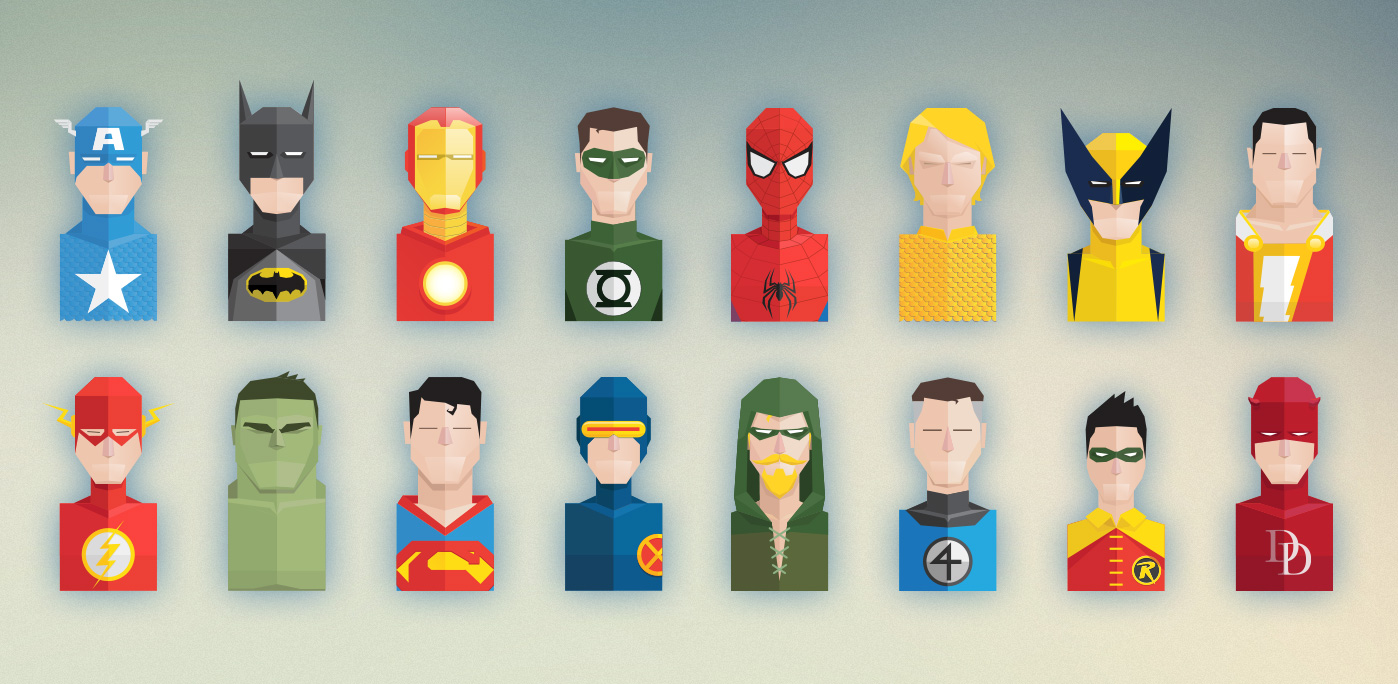 Free Set of Flat Super Heroes Busts