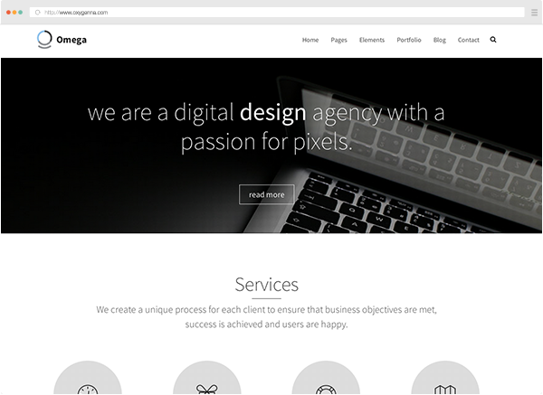 Omega (html template) <span>$19</span>