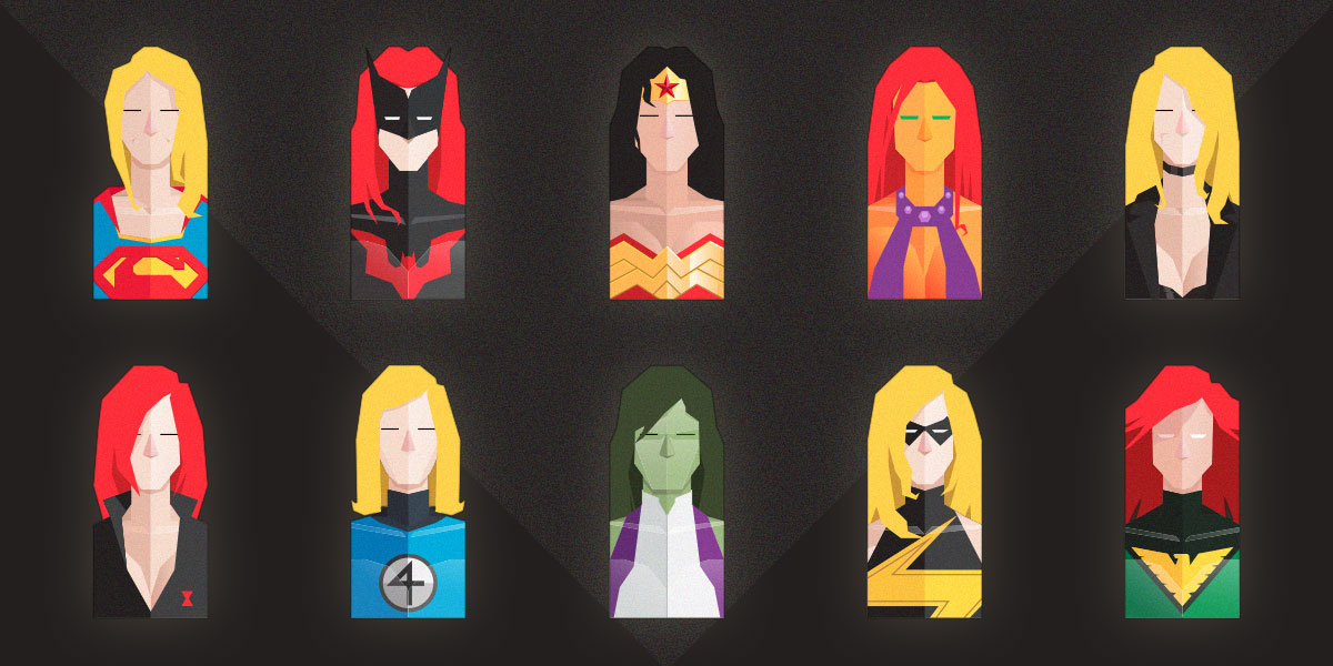 Free Set of Flat Female Super Heroes Busts
