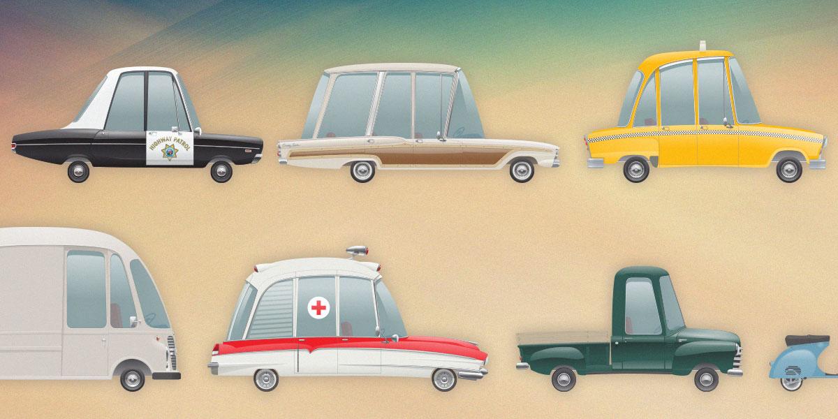 Free set of Iconic Retro Vehicles