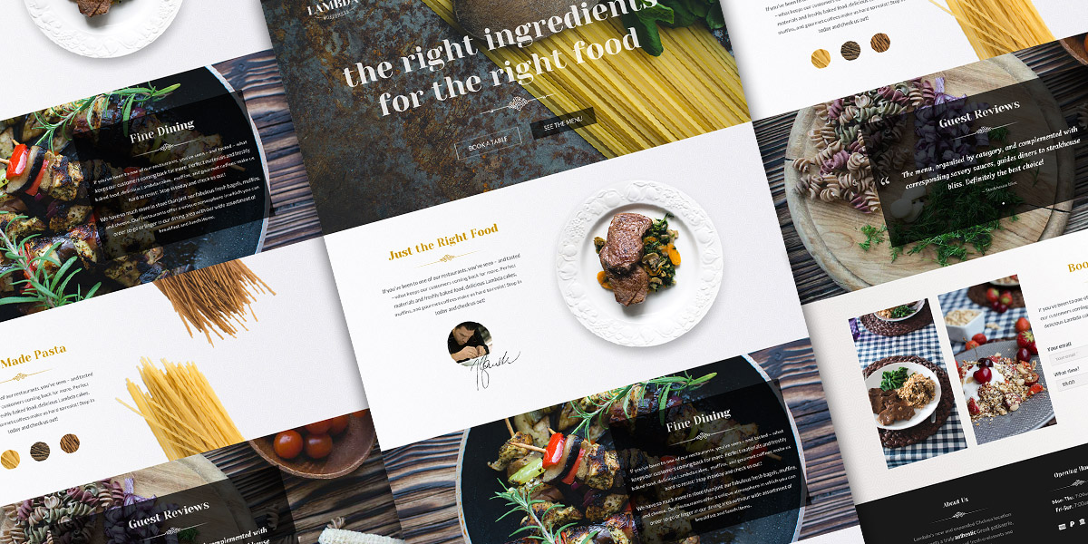 Free One Page restaurant PSD template - Oxygenna Web Design
