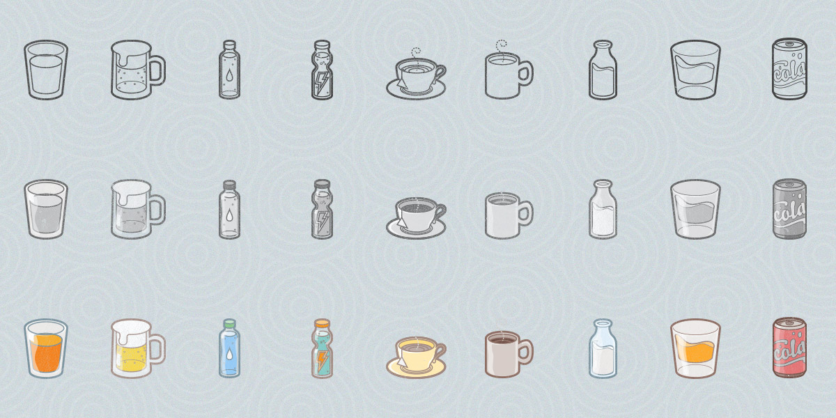 Free Drinks and Lifestyle Icon Set