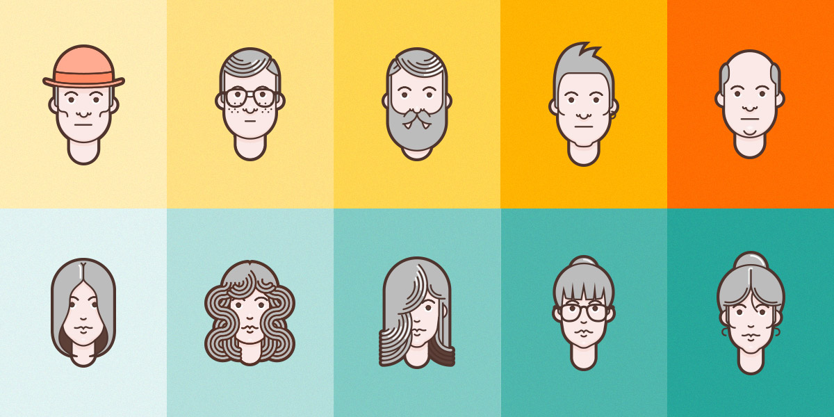 Material Design Flat Avatar Set