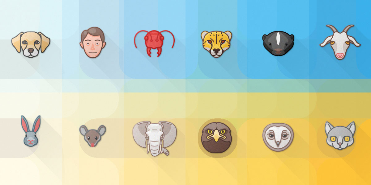 Flat Animal Attributes Icon Set