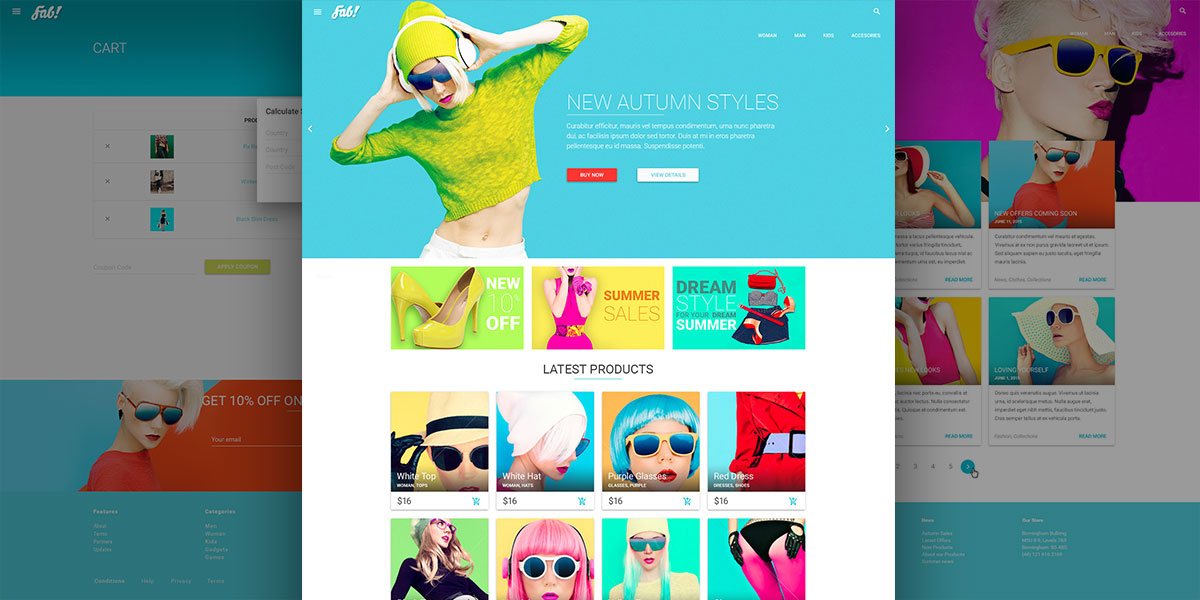 Meet FAB! A Material Design Shop PSD Template