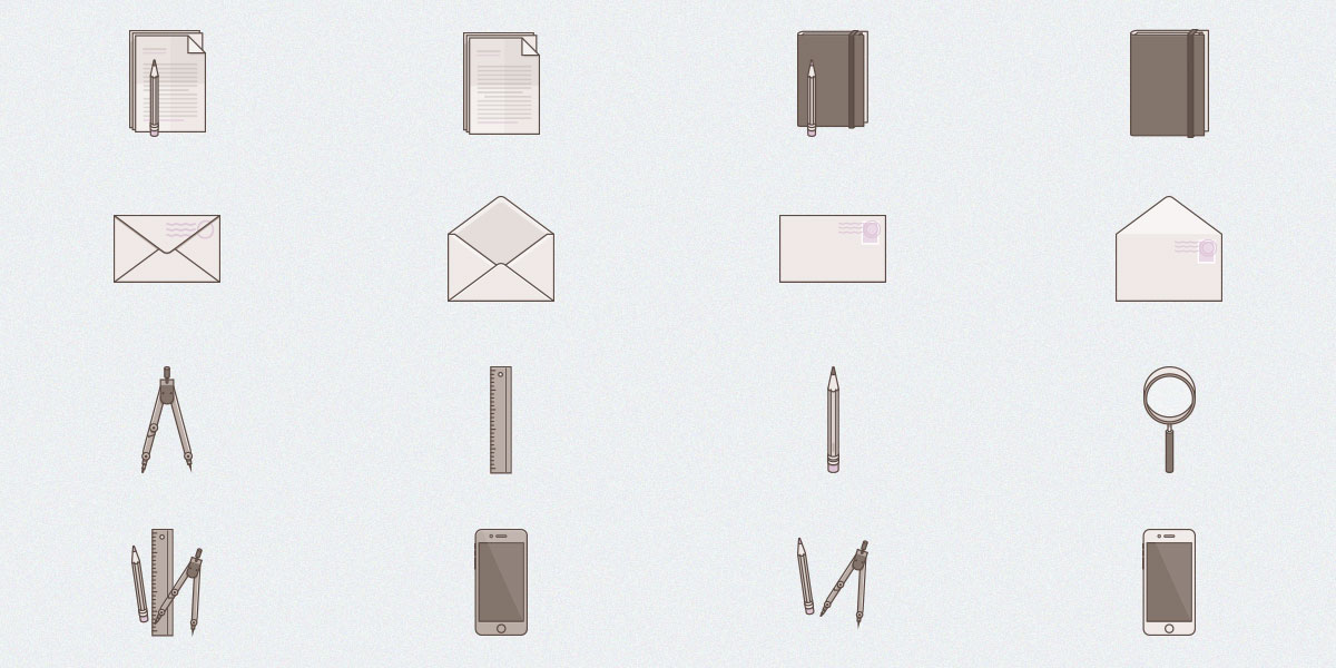 Free Set of 16 Tone Stationary Icons