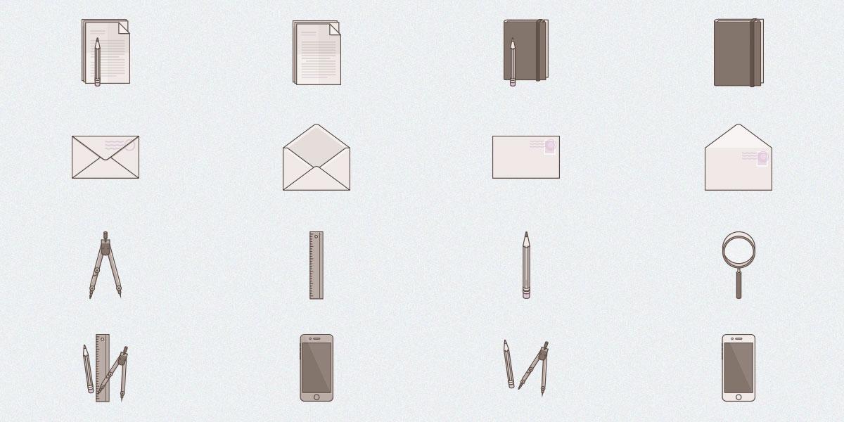 Free Set of 16 Tone Stationary Icons