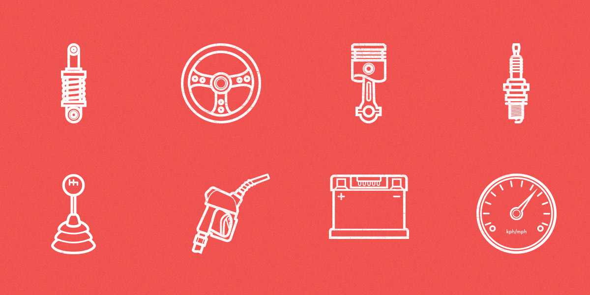 Free Car Parts Outline Icon Set