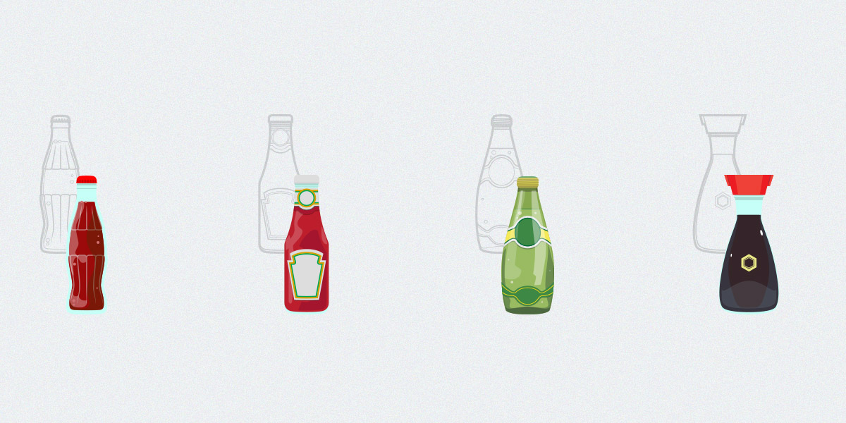 Set Of Iconic Design Bottles