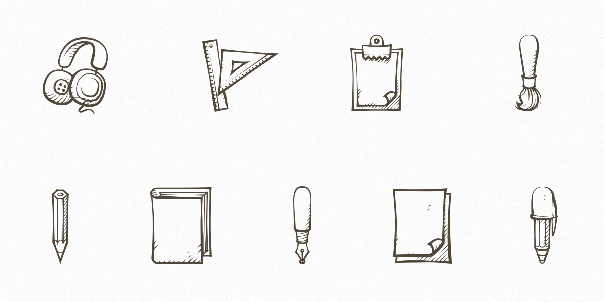 Set Of 9 Handdrawn Icons
