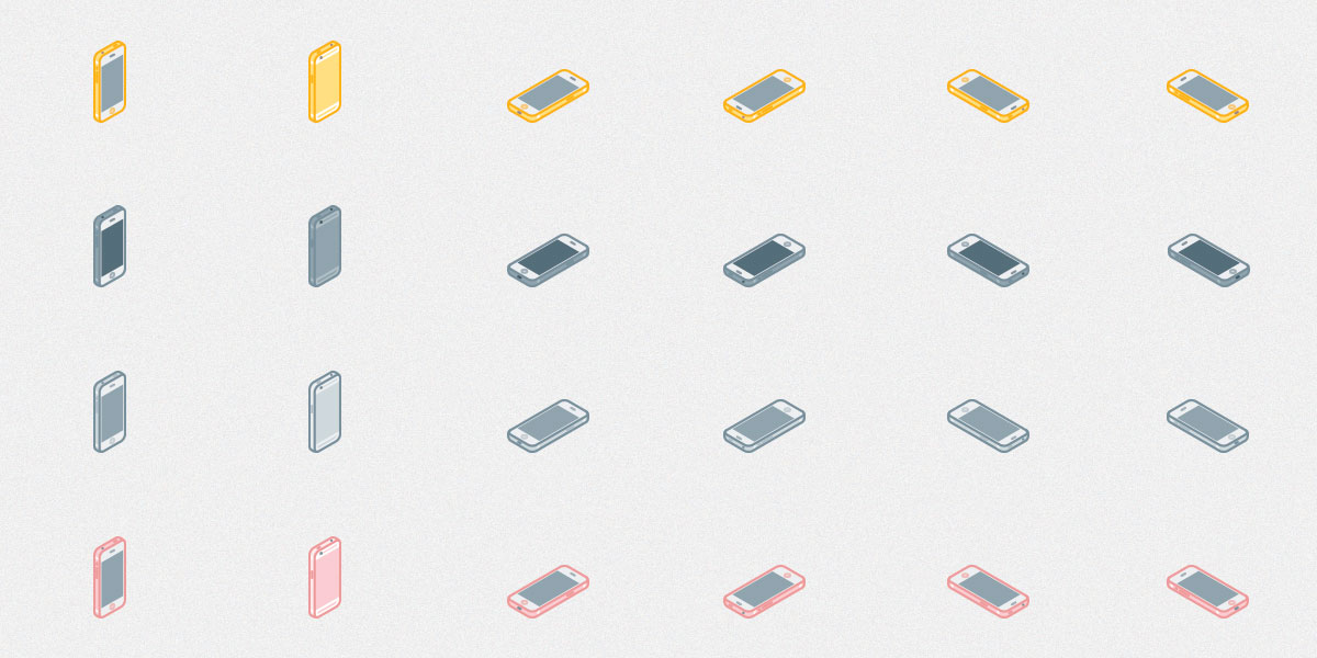 Free Set of Isometric iPhone 6s icons