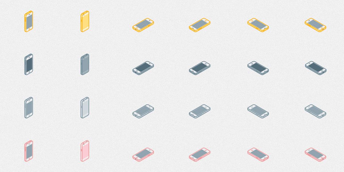 Free Set of Isometric iPhone 6s icons