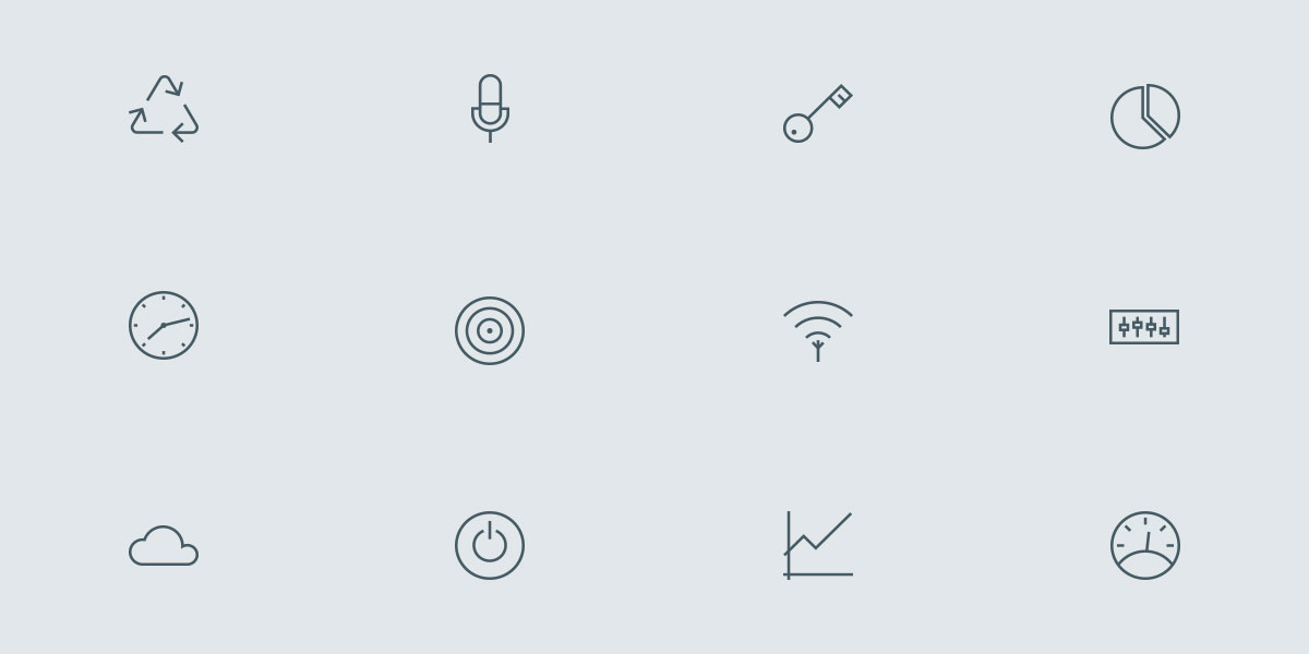 New Set of 12 Outline icons