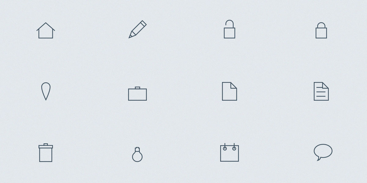 Set of 12 Outline icons vol 2
