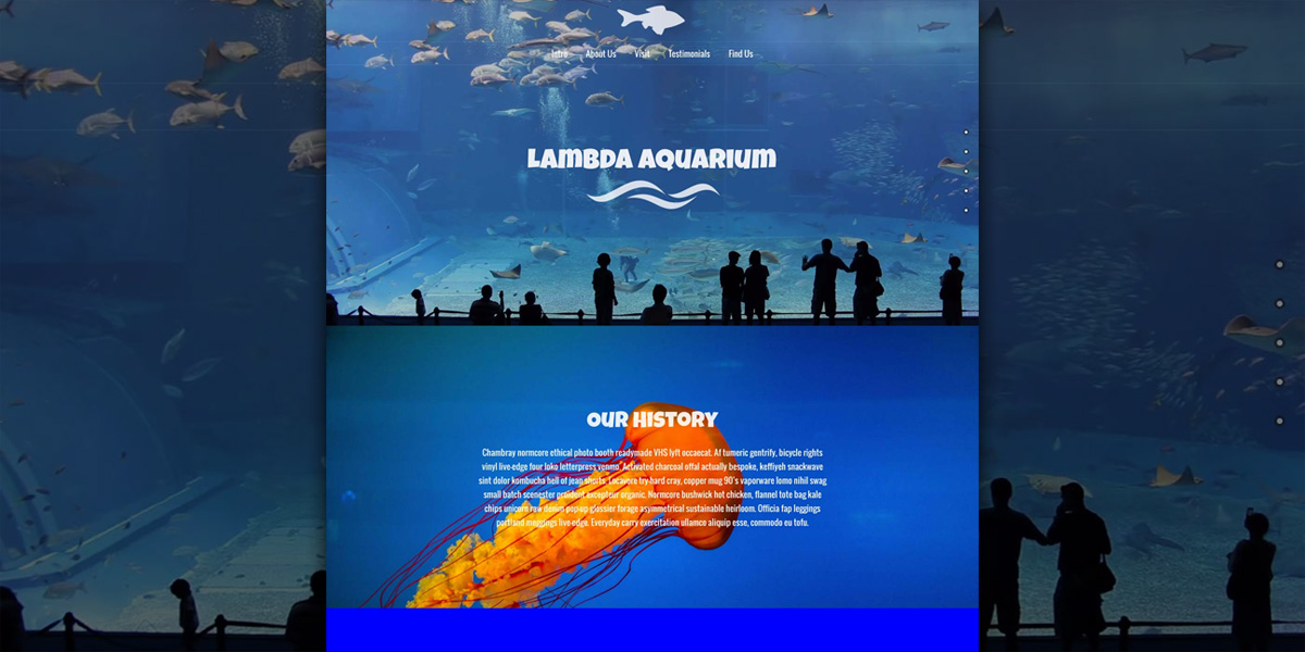 An underwater journey with our Lambda Aquarium WordPress Demo!