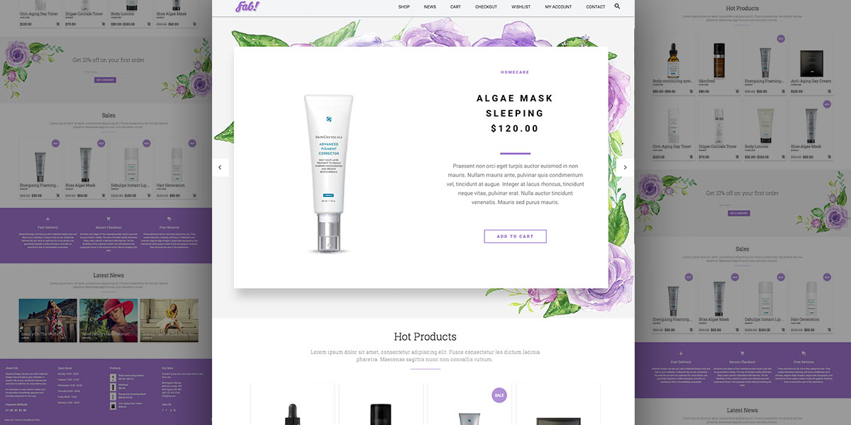 Beauty Products e-Shop – Beautiful Floral Demo for FAB! WordPress Theme