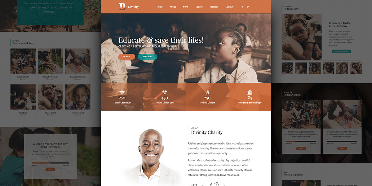 Divinity Acts – WordPress Charity Demo, Emotive & Clean Design