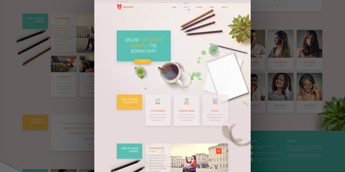 Free Education PSD Template! Verso